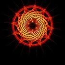 Merkaba Spiral Mandala Red   ( Fractal Geometry ) by Leah McNeir