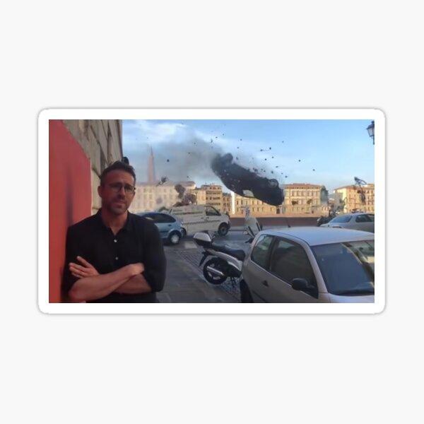 Ryan Reynolds Car Crash Meme Sticker