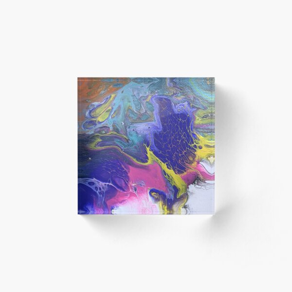 Abstract Whimsical Purple, White, Pink Yellow, Aqua Swirl Acrylic Art Acrylic Block