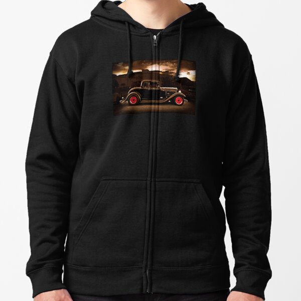 1932 black ford 5 window deuce coupe Zipped Hoodie