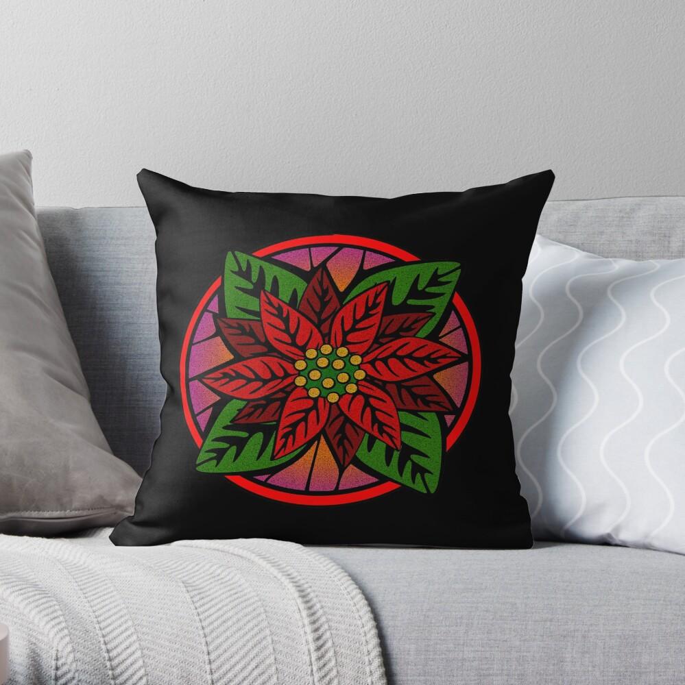 Poinsettia Flower Throw Pillow
