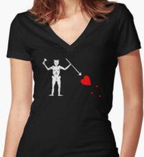 Edward Teach Pirate Flag Women's Fitted V-Neck T-Shirt