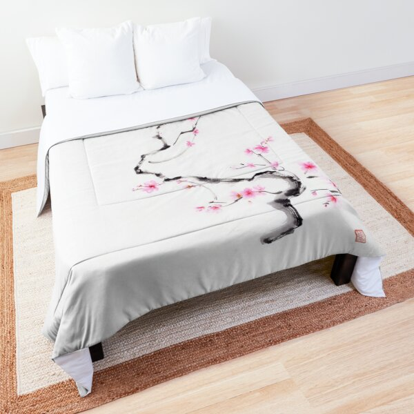 Delicate curvy cherry blossom branch with gentle pink blossoms sumi-e artwork art print Comforter
