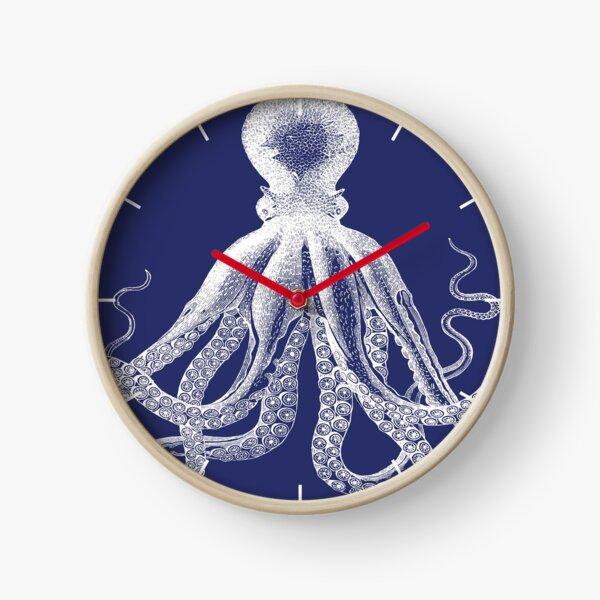 Octopus | Vintage Octopus | Tentacles | Sea Creatures | Nautical | Ocean | Sea | Beach | Navy Blue and White |  Clock