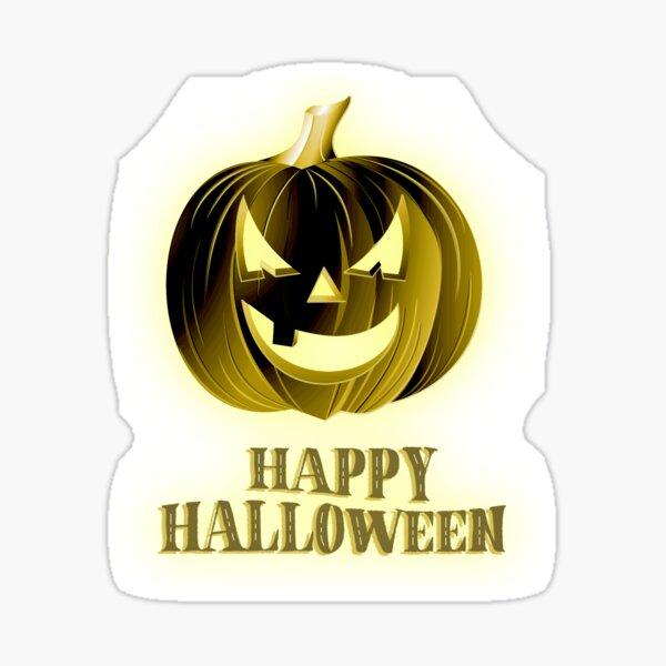 Happy Halloween - Gold Pumpkin-Head Tee Sticker