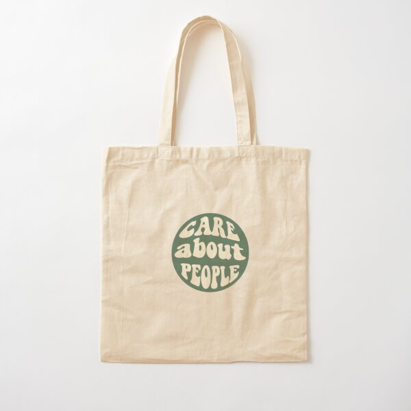 Care about People (Dark Green) Cotton Tote Bag