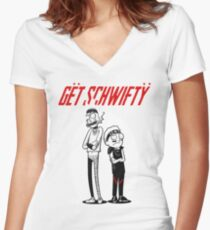 Morty Get Schwifty Quote Women's Fitted V-Neck T-Shirt