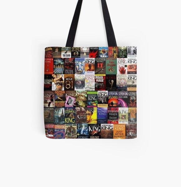 Collage de libros de Stephen King Bolsa estampada de tela