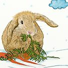 Little Rabbit Eating Carrot by Lucie Rovná