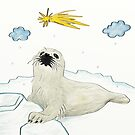 Little Sea-dog Looking At Comet by Lucie Rovná