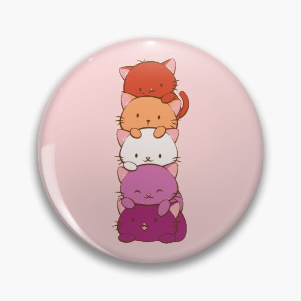 New Orange Lesbian Pride Flag Kawaii Cats Pin