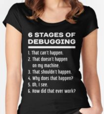 Six Stages of Debugging: White on Dark Design for Programmers Women's Fitted Scoop T-Shirt