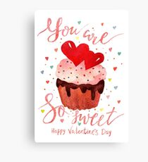 Valentine's day watercolor card Canvas Print