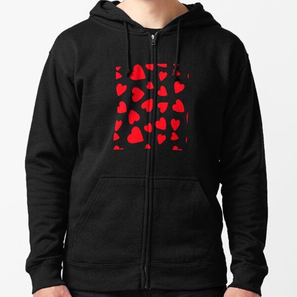 Hearts Pattern Zipped Hoodie