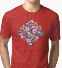 Teal Summer Floral in Watercolors Tri-blend T-Shirt