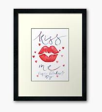 Watercolor lettering Valentine card Framed Print