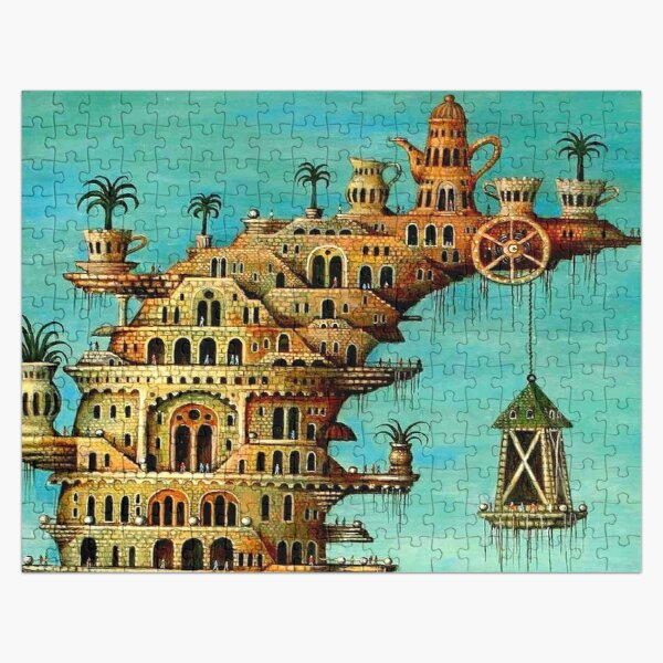 DALI : Vintage Living on the Moon Abstract Painting Print Jigsaw Puzzle