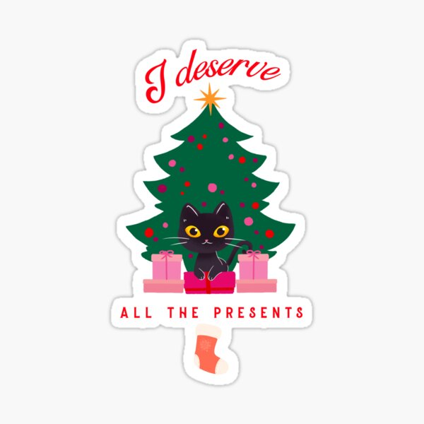 Christmas cat, tree with presents Sticker