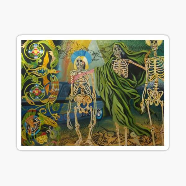 Skeleton brothers (oilpainting) Sticker