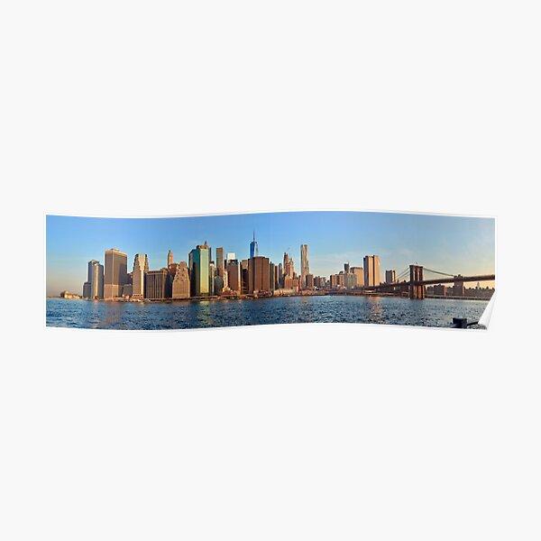Panorama del amanecer de Manhattan Póster