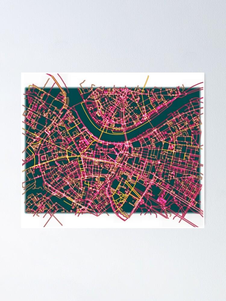 Alternate view of Neon Roads of Dresden Poster