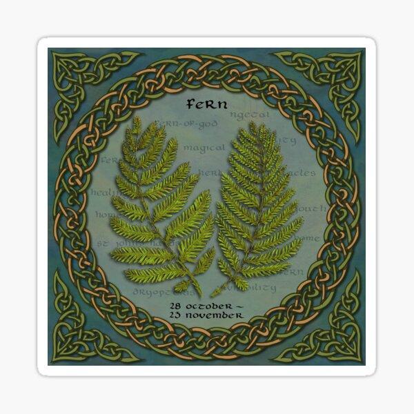 Celtic Tree Calendar Ferns Sticker