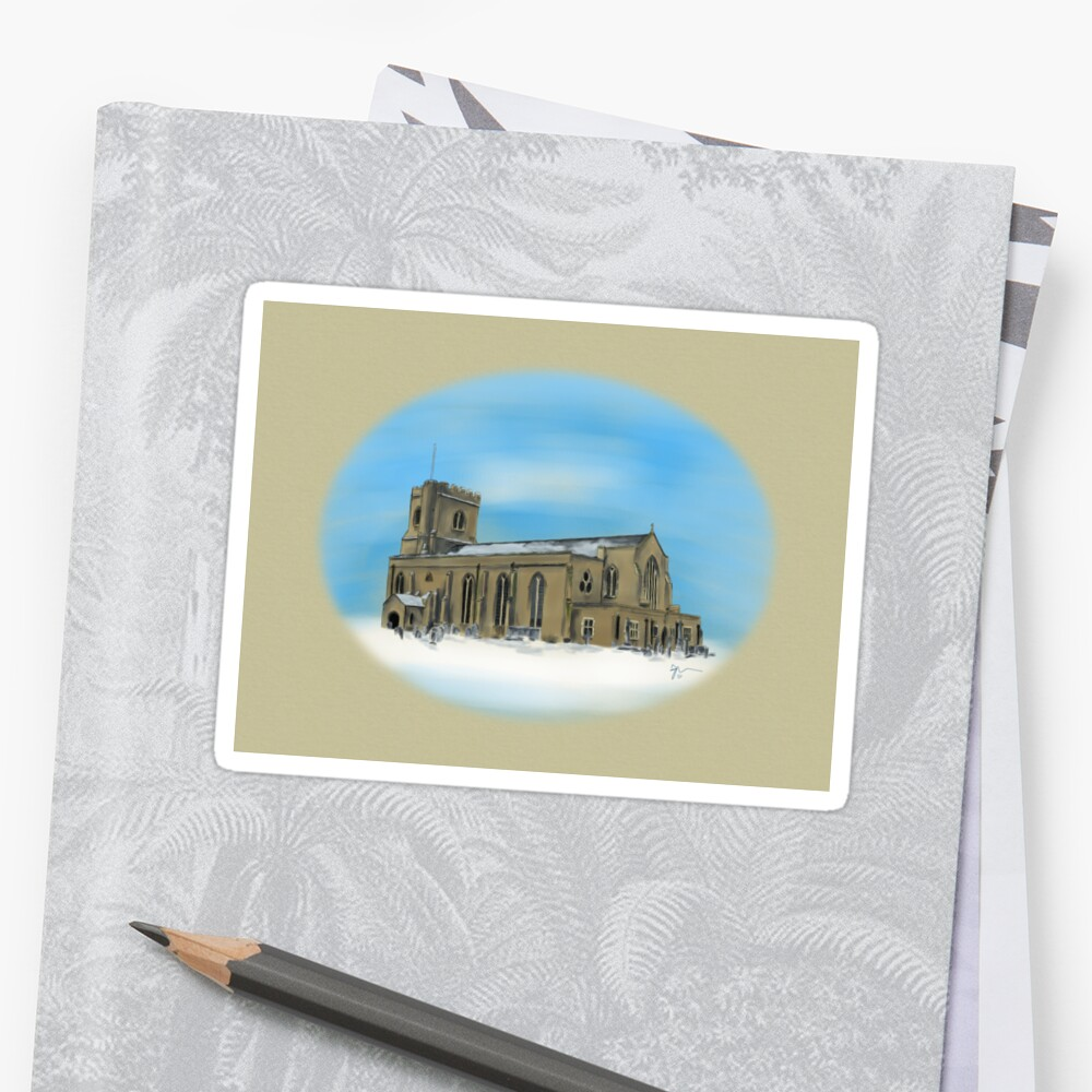 St Mary's Church in the Snow Sticker