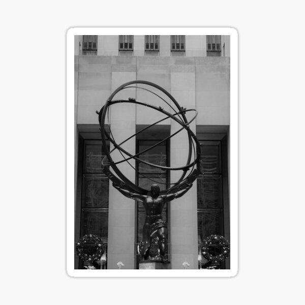NYC Atlas in Rockefeller Center Statue in Black and White Sticker
