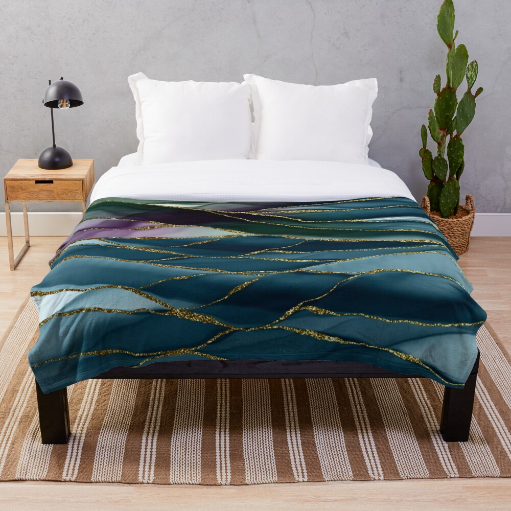 Evening Glow Marble Landscapes 1 Throw Blanket