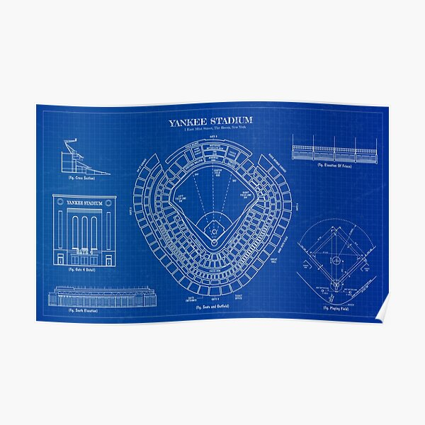 Yankee Stadium (Blueprint) Poster