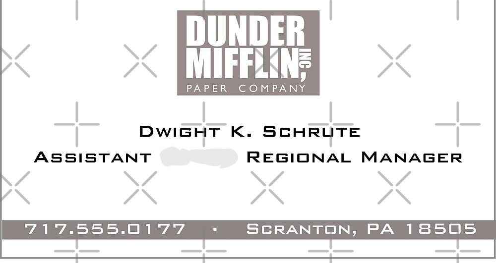 dwight schrute business card by ruthykaye redbubble. Black Bedroom Furniture Sets. Home Design Ideas