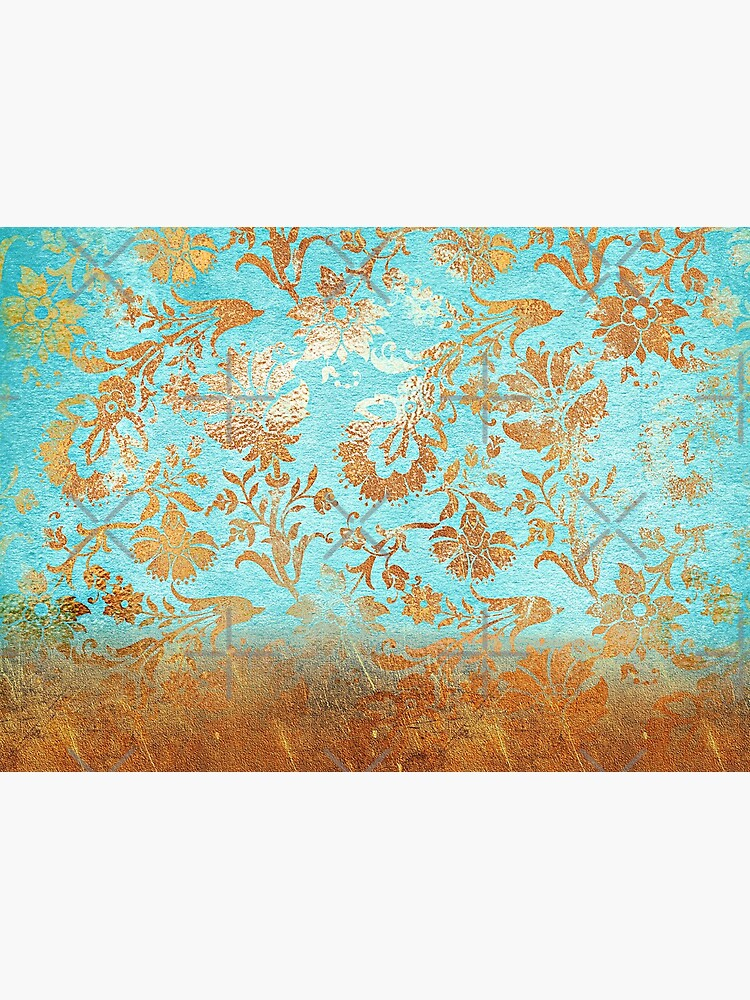 Turquoise Glamour Copper Gatsby Damask by MysticMarble