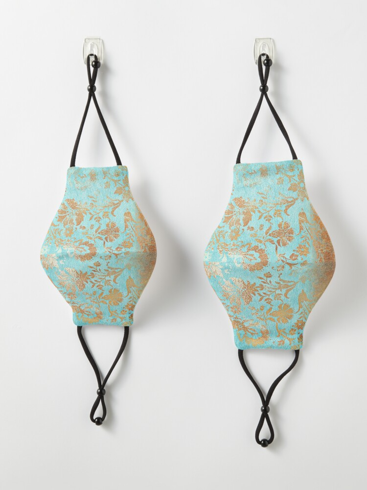 Alternate view of Turquoise Glamour Copper Gatsby Damask Mask