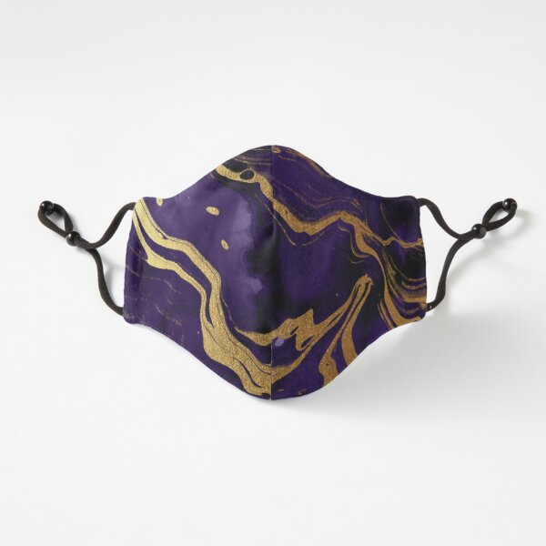 Dark Purple Ink Marble Texture with Gold Veins Fitted 3-Layer