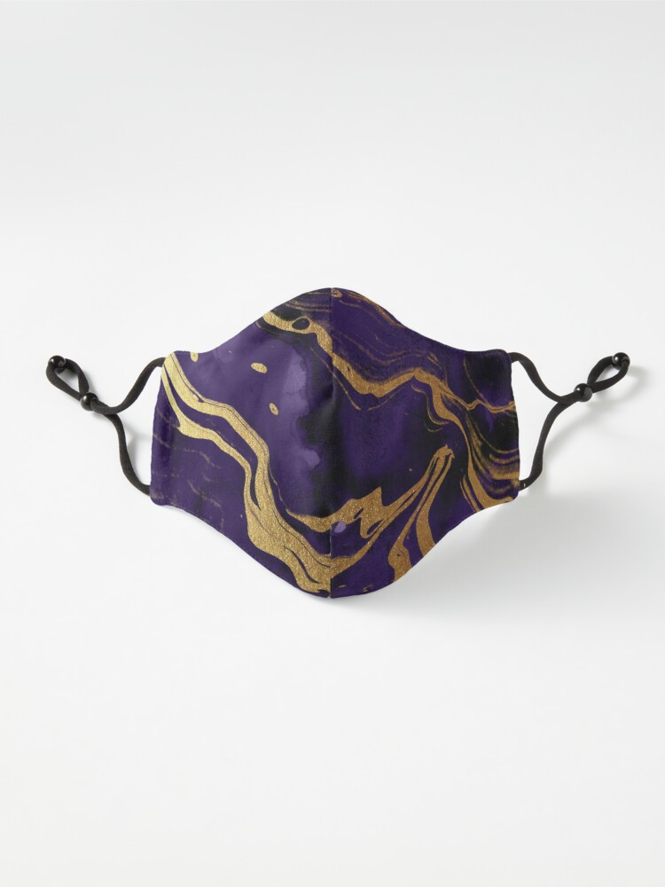Alternate view of Dark Purple Ink Marble Texture with Gold Veins Mask