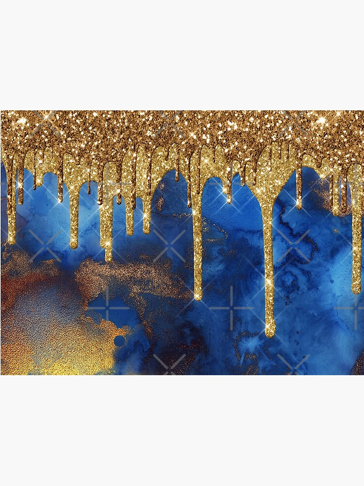Gold Glitter Rain on Indigo Ink Marble by MysticMarble