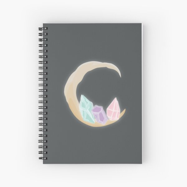 Waning Crystal Crescent Spiral Notebook