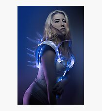 blonde girl with white robot suit and blue LED lights Photographic Print