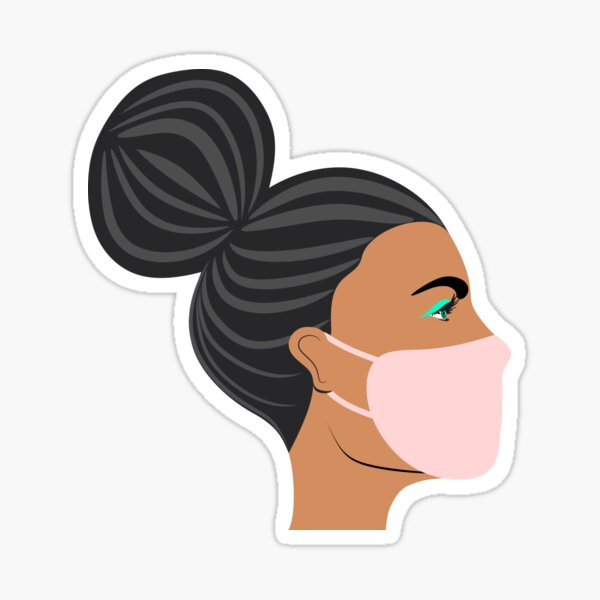 Woman with a face mask Sticker