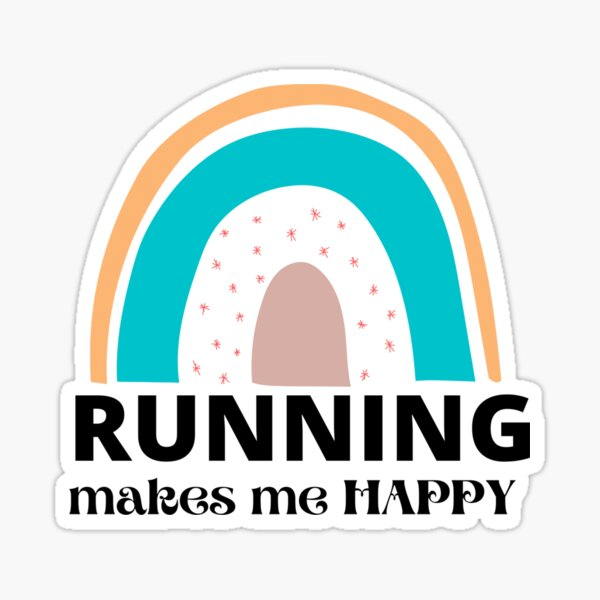 Running  Makes Me Happy Rainbow Art Sticker