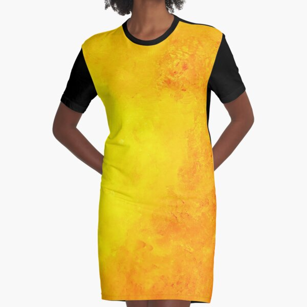 Yellow abstrac one Graphic T-Shirt Dress