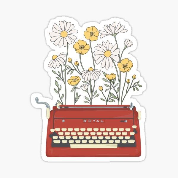 Wild Flower Type Writer Sticker