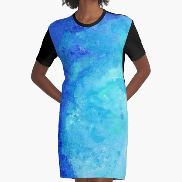 Blue abstract one Graphic T-Shirt Dress