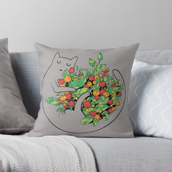 cat with flowers scratchboard Throw Pillow