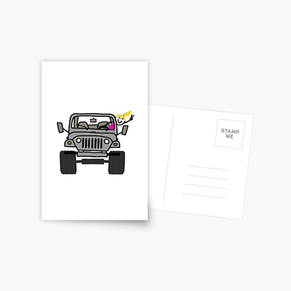 Jeep Wave Gray/Grey - Blonde Girl Postcard