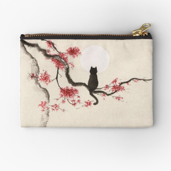 Painting of a black cat sitting on maple tree with red autumn leaves gazing at the full moon art print Zipper Pouch