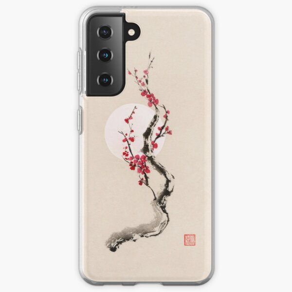 Fine art Illustration of plum blossom oriental sumi-e Zen painting art print Samsung Galaxy Soft Case