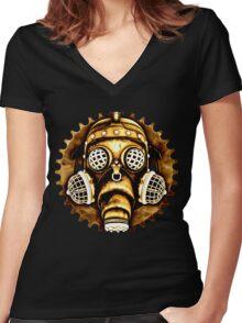 Steampunk/Cyberpunk Gas Mask #1D Women's Fitted V-Neck T-Shirt