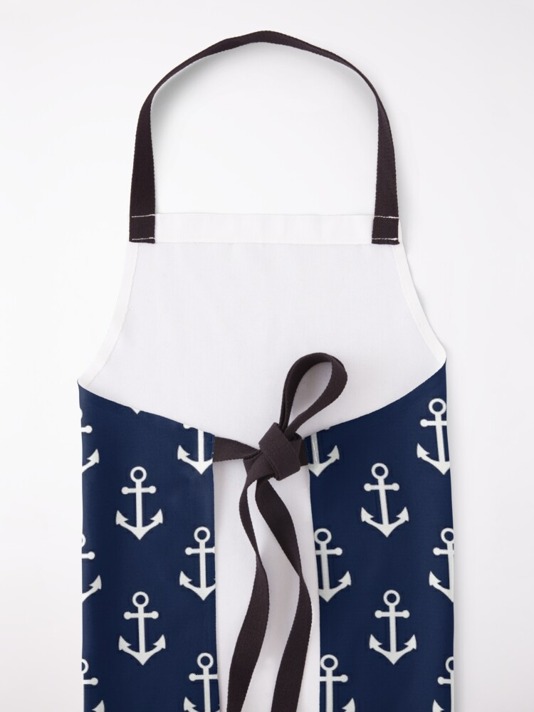 Alternate view of Blue Nautical Anchor Pattern Apron