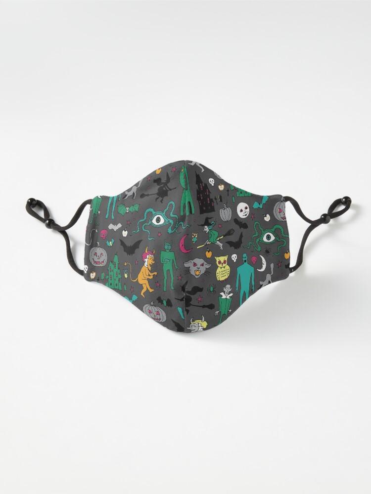 Alternate view of Retro Halloween - on grey - Halloween pattern by Cecca Designs Mask